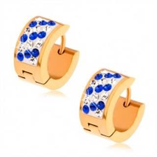 Náušnice z ocele zlatej farby, biely pás vykladaný modrými a čírymi zirkónmi