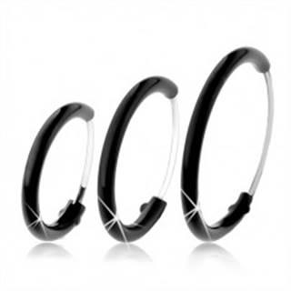 Okrúhle náušnice zo striebra 925 pokryté čiernou glazúrou, rôzne veľkosti - Priemer: 10 mm