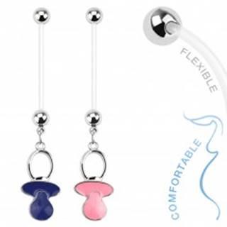 Piercing do bruška z bioflexu pre tehotné ženy, farebný cumlík - Farba piercing: Modrá