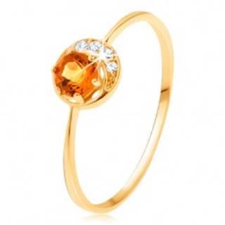 Prsteň zo žltého 14K zlata - úzky kosáčik mesiaca, žltý citrín, zirkóniky čírej farby GG91.19/38/42/198.45/47 - Veľkosť: 50 mm