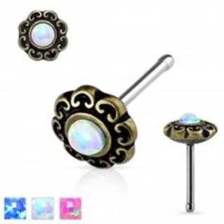Rovný piercing do nosa z ocele 316L, patinovaný kvet so syntetickým opálom - Farba: Biela