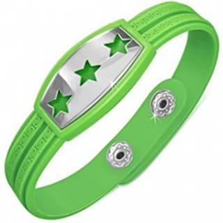 Zelený gumený náramok - hviezdy na známke, grécky kľúč