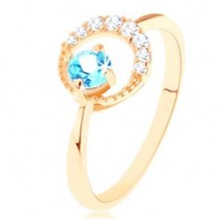 Zlatý prsteň 585 - kosák mesiaca zdobený čírymi zirkónikmi, modrý topás GG91.24/26/32 - Veľkosť: 49 mm