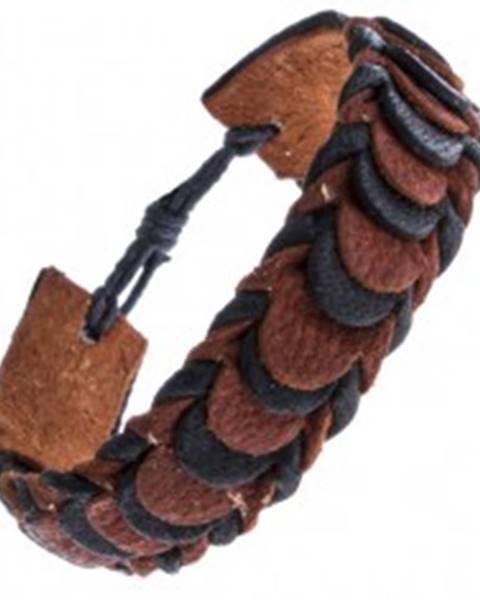 Čierno-hnedý skladaný náramok z kože, motív šupiniek