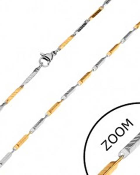 Dvojfarebná retiazka z chirurgickej ocele, úzke skosené hranoly so zárezmi, 2 mm