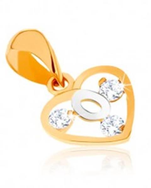 2e69a13c9 Dvojfarebný prívesok v 9K zlate - obrys srdca, slučka z bieleho zlata,  zirkóny GG60