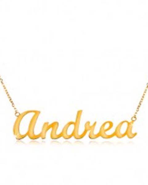 04517cb96 Náhrdelník v žltom 14K zlate - tenká ligotavá retiazka, lesklý nápis Andrea  GG198.03