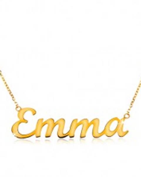 a4c6aec71 Náhrdelník v žltom 14K zlate - tenká ligotavá retiazka, lesklý nápis Emma  GG198.05