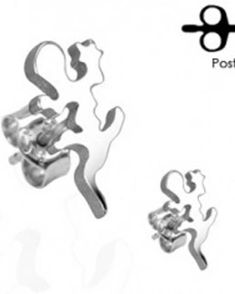 Náušnice z chirurgickej ocele - jašterička v striebornom odtieni, puzetky