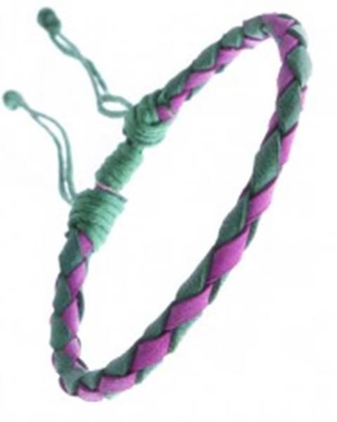 Oblý kožený náramok na ruku - pletený, fuksiová-zelená