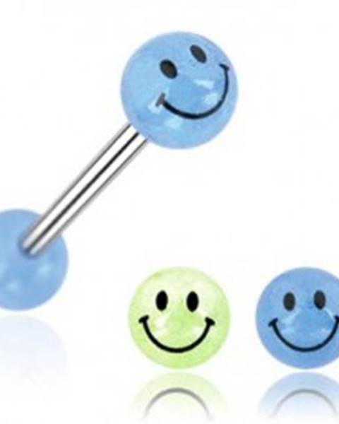 Piercing do jazyka gulička úsmev - Farba piercing: Modrá