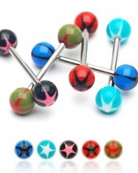 Piercing do jazyka UV gulička s hviezdou - Farba piercing: Aqua