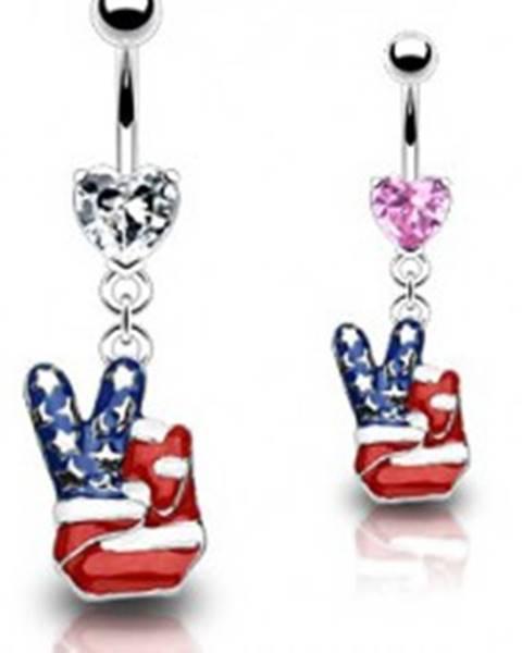 Piercing do pupku - americký mier N25.7 - Farba piercing: Číra