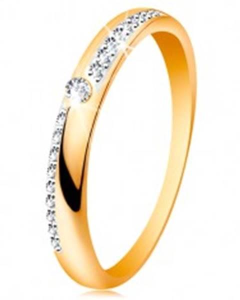 Prsteň zo zlata 585 - úzke línie z čírych ligotavých zirkónikov, lesklé ramená, zirkón GG189.21/27 - Veľkosť: 50 mm