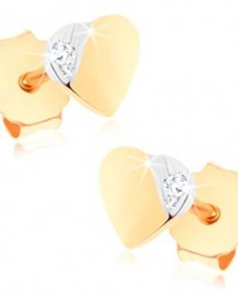 Puzetové náušnice zo zlata 375 - malé dvojfarebné srdiečko, drobný zirkónik