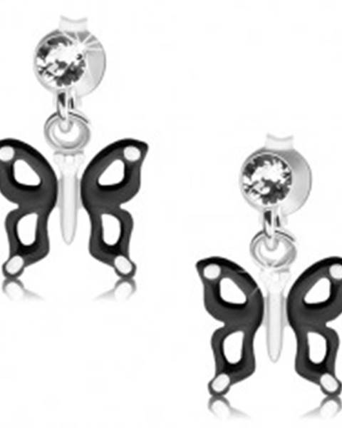 Strieborné náušnice 925, čierno-biely motýlik s výrezmi na krídlach, krištáľ