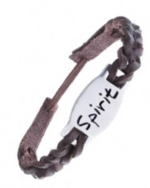 """Tmavohnedý kožený náramok - pletený so známkou """"Spirit"""""""
