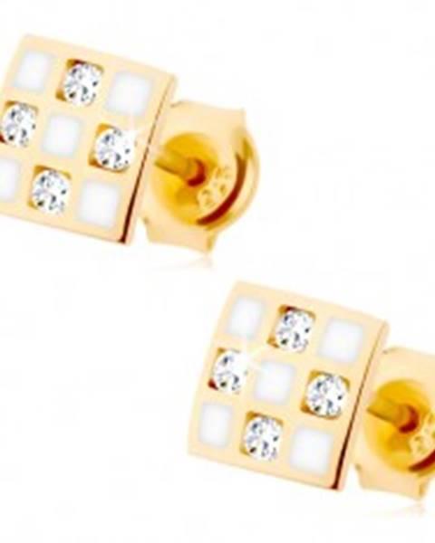 Zlaté náušnice 375 - štvorček so šachovnicou, číre zirkóniky, biela glazúra