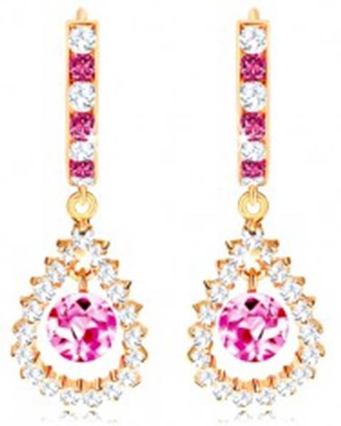 Zlaté náušnice 585, ružovo-číry kruh, ružová gulička v zirkónovom obryse slzy