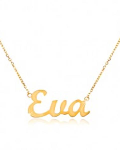 Zlatý náhrdelník 585 s menom Eva, jemná nastaviteľná retiazka