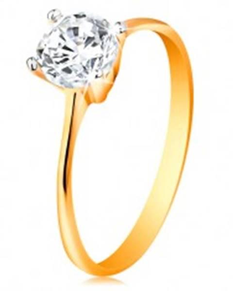 Zlatý prsteň 14K - zúžené ramená, žiarivý číry zirkón v lesklom kotlíku - Veľkosť: 49 mm