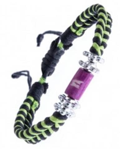 Pletený náramok - čierno-zelený, kvietky a valček s krížikmi Y52.04