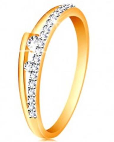 Prsteň v 14K zlate - rozdvojené ramená, trblietavá línia, dva číre zirkóniky GG190.73/80 - Veľkosť: 49 mm