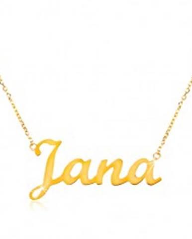 618ba3fb2 Zlatý nastaviteľný náhrdelník 14K s menom Jana, jemná ligotavá retiazka  GG198.20