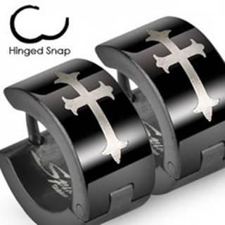 Čierne oceľové náušnice s ľaliovým krížom v striebornom odtieni