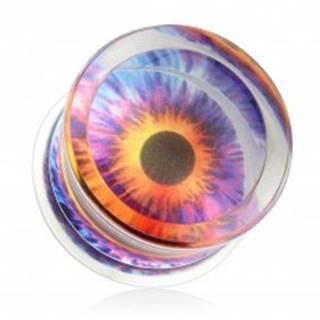 Číry plug do ucha, sedlový, akrylový, motív - farebné oko - Hrúbka: 10 mm