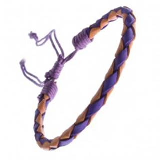 Dvojfarebný kožený náramok - oblý pletenec, šnúrky