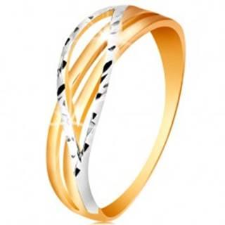 Dvojfarebný prsteň zo 14K zlata - rozvetvené a zvlnené línie ramien, zárezy GG192.68/74 - Veľkosť: 49 mm