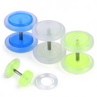Fake plug - fosforeskujúci, rôzne farby - Farba piercing: Biela