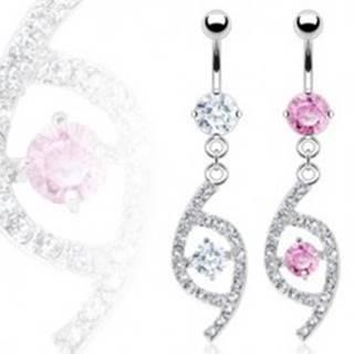 Luxusný piercing do pupka slza so zirkónmi N19.27 - Farba zirkónu: Číra - C
