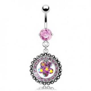 Luxusný piercing do pupku vykladaný kvet N25.3