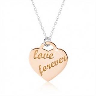 """Náhrdelník zo striebra 925, srdce medenej farby, nápis """"love forever"""""""
