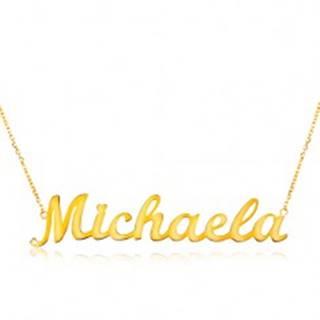 Náhrdelník zo žltého 14K zlata - tenká retiazka, lesklý prívesok - meno Michaela