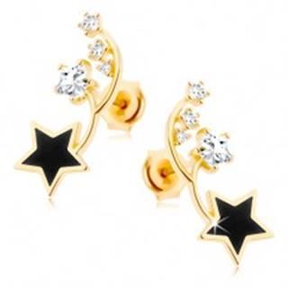 Náušnice v žltom 9K zlate - dva tenké oblúčiky, čierna a zirkónová hviezdička
