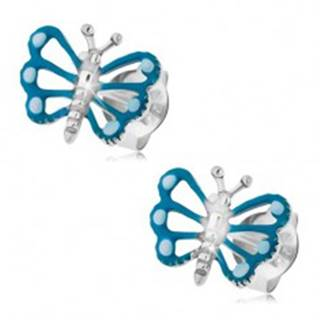 Náušnice zo striebra 925, motýľ s modrými krídlami a lesklým telom