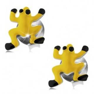 Náušnice zo striebra 925, žltá glazúrovaná žabka, čierne oči a nôžky