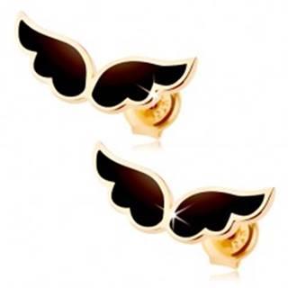 Náušnice zo žltého 9K zlata - dvojica anjelských krídel, čierna glazúra
