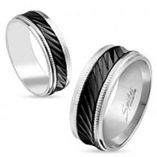 Oceľová obrúčka striebornej farby, čierny pruh so šikmými zárezmi, vrúbky, 8 mm - Veľkosť: 59 mm
