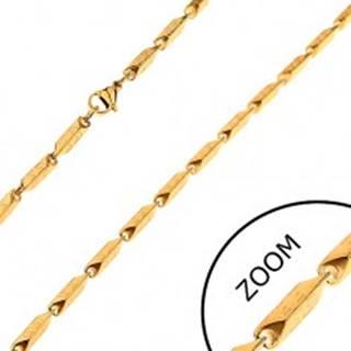 Oceľová retiazka zlatej farby - širšie hranaté články s gréckym motívom, 3 mm