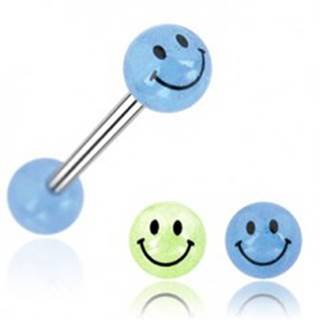 Piercing do jazyka gulička úsmev N21.3 - Farba piercing: Modrá