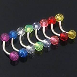 Piercing do obočia - farebné glitrové guličky - Farba piercing: Červená