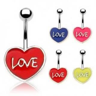 Piercing do pupku LOVE N21.7 - Farba piercing: Červená