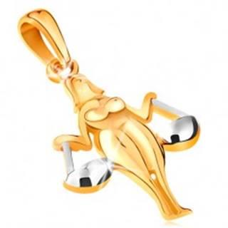 Prívesok v 14K zlate - lesklý dvojfarebný symbol zverokruhu - VÁHY