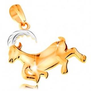 Prívesok zo 14K zlata - lesklý dvojfarebný symbol zverokruhu - KOZOROŽEC