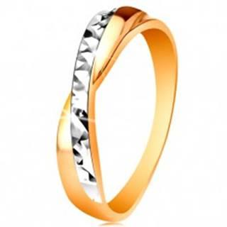 Prsteň v 14K zlate - dvojfarebné prekrížené ramená, drobné ligotavé ryhy - Veľkosť: 49 mm
