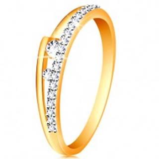 Prsteň v 14K zlate - rozdvojené ramená, trblietavá línia, dva číre zirkóniky - Veľkosť: 49 mm